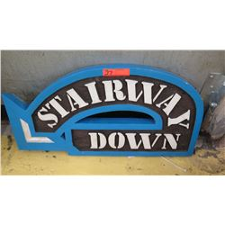 """Stairway Down"" Sign from Ward Warehouse, 28 X 14.5"