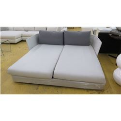 "Lounger w/2 Backrest Pillows, Approx. 75.5"" L, 70"" Depth, White/Lt. Gray Woven Fabric"