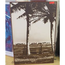 Framed Art: Vintage B&W Image Transfer on Wood, Block Frame, Coconut Trees, 32.5 X 48.5