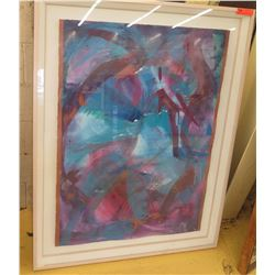 "Framed Original Abstract Watercolor, Approx. 39"" X 51"" Shadowbox Glass Frame"