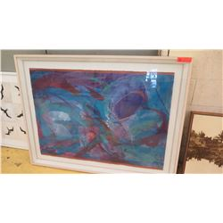 "Framed Original Abstract Watercolor, Approx. 39"" X 51"""