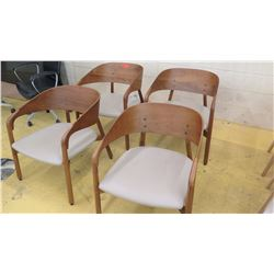 Qty 4 Modern Horseshoe Chairs - Natural Leather (Tan), Wood Frame, only 3 back cushions are included