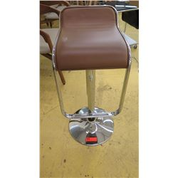 "Modern Swivel Barstool - Chrome Base, Brown Leather Seat, 14"" W"