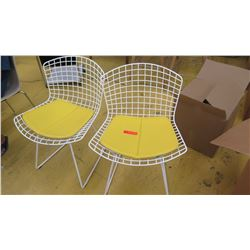 "Qty 2 Knoll Modern Side Chairs - White w/Yellow Seat Pads, Seat 21"" wide at widest section"