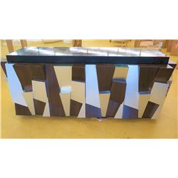 "Modern Cabinet w/Geometric Brushed Metal/Dark Wood Facade, Mirrored Accents, 80"" Overall Length, 24"""