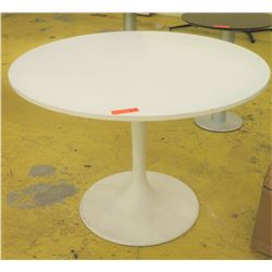 "White Round Pedestal Table, 41"" Dia., some signs of wear"