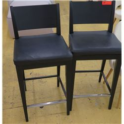 "Qty 2 Black Bar-Height Chairs w/Leather Seats, Wooden Frame, Seat 18"" Wide, some surface wear and te"