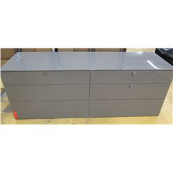 "Gray TV Stand with 6-Drawers, Glossy Finish, 61"" L, 20"" D, 22"" H, section on right side toward top w"