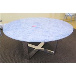 "Large Marble-Top Round Table, Gray/White, Chrome Base, 68"" Dia. (chipped in sections along edges)"