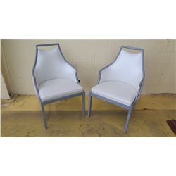 Qty 2 Pale Gray Upholstered Chairs, Gray Wood Frame, Widest Section of Seat is 22.5""