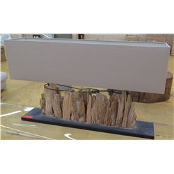"Large Rectangular Lamp w/Natural Driftwood Base, Box Shade (45"" x 10""), 27"" H (shade sits perfectly"