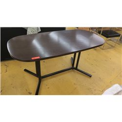 "Large Dark Wood Table w/Black Base, Rounded Corners, 5ft L, 30"" W, 28.5"" Tall"