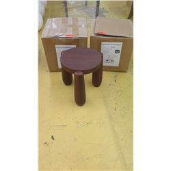 "Qty 2 Dark Wood Polynesian Stools (Plant Stands or Side Tables), 14"" Dia., 16"" H"