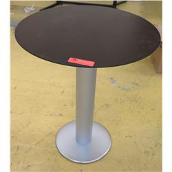"Round Pedestal Side Table - Dark Wood Top, Brushed Aluminum Base, 23.5"" Dia., Some Surface Wear"