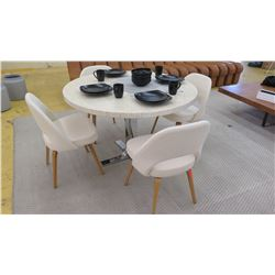 Qty 4 Knoll 72CW White Upholstered Open-Backed Chairs (table shown not included)