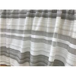 "Sheer Drapes, 3 Large Pieces, Horizontal Striped, White/Ivory/Gray/Sheer. All 104"" H. 3 Pieces: 160"""