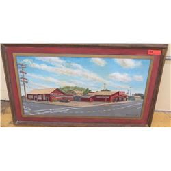 "Framed Art: John's Antique Shop, Original, Signed, 43"" X 25"""