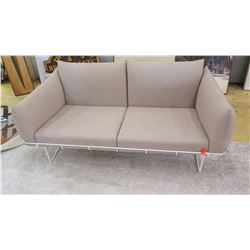 """Love Seat w/White Metal Frame, Tan, 62"""" L, Seat Height 17"""", All Cushions Removable"""