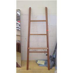 "Decorative Hardwood Ladder Interior Accent w/Ledge Shelf, 82"" H"