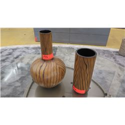 """Two Decorative Wood-Veneer Vases (10"""" and 14"""" tall)"""