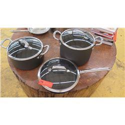 Qty 2 Black Pots, 1 Handled Pan