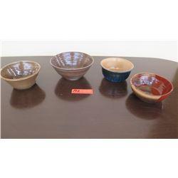 Qty 4 Glazed Decorative Pottery Bowls - All by same artist