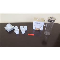 French Press, Espresso Cups & Saucers, Chemex Coffee Filters