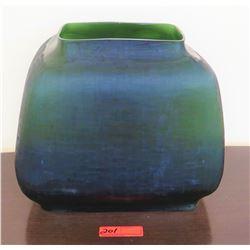 "Large Natuzzi Iridescent Multi-Toned Green/Blue Glass Vessel, 16"" W, 14"" H, $1099 Retail"