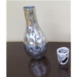 """Tall Cratered Aluminum Vase (15.5"""" H), Small Hand-Blown Glass Vessel (over $200 retail)"""