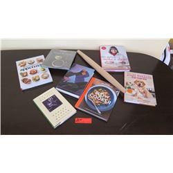 Qty 7 Misc. Cookbooks, Rolling Pin