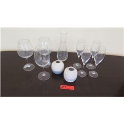 Qty 7 Stemmed Glasses, Glass Carafe, 2 Small White Ceramic Vases