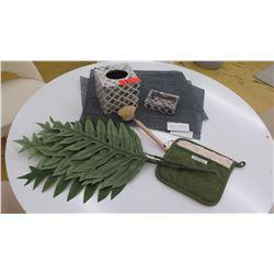 4 Placemats, Kassatex Facial Tissue Holder, Soap Dish, Pot Holder, Scrubber, Faux Leaves