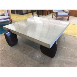 """Oversized Square Coffee Table, Gray Top, Metal Cast Legs, 52"""" X 52"""", 19"""" H"""