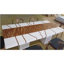 "White Rectangular Table w/Wood Inlay, Block Bases, 86.5"" X 43.5"", 29.5"" H"
