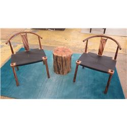 """Qty 2 Modern Chinese Horseshoe Chairs, Wood Frame, Leather Seat (seat 23""""X18.5"""").  1 NEEDS REPAIR. S"""