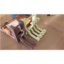 2 Wooden Wall-Mount Hidden Hook Systems Sculptures Jeux (folds up flat when not in use), Lt. Green