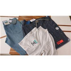 Men's Clothing w/Tags: Vissla Men's Pair of Denim Jeans (sz 32), Board Shorts (sz 32), T-Shirt (Med)