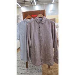 Men's Clothing w/Tags: 2 Button-Up Shirts sz L (1 long-sleeve linen, 1 short-sleeve cotton blend)