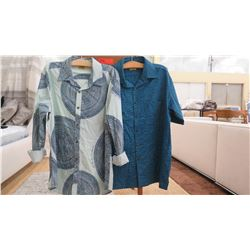 Men's Clothing w/Tags: 2 Printed Button-Up Shirts sz L (1 long-sleeve, 1 short-sleeve)