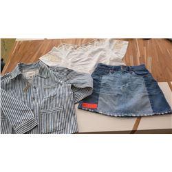 Women's Clothing w/Tags: Denim Skirt (sz 24), White Linen Top (XS), Striped Denim Jacket (S)