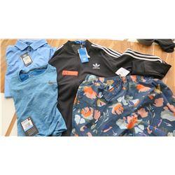 Men's Clothing w/Tags: Adidas Jacket (L), 2 Shirts (M), Printed Swim Shorts (L/XL)