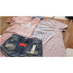 """Women's Clothing w/Tags: 2 Women's T-Shirts (sz M), """"Ripped"""" Shorts (sz 26)"""
