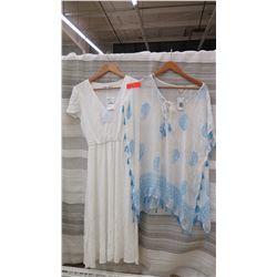 Women's Clothing w/Tags: White Cotton Dress (XS), Cotton Cover-Up (sz S)