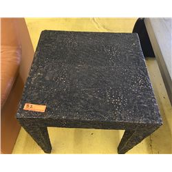 "Textured, Rock-Look Side Table, 22.5"" X 22.5"", 22"" H, Composite Material, Minor Corner Damage"