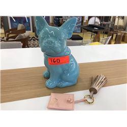 "Blue Glazed Ceramic Dog Canister (10.5"" H), Pink Tassel Accessory"
