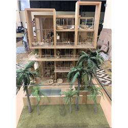 "Scale Model Building w/Scale Model Cars, Furniture, etc. 54"" X 39"", Approx. 63"" H"
