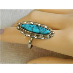 RING - TOURQUOISE IN STERLING SILVER SETTING - FROM ESTATE