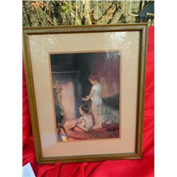 FRAMED PICTURE - BABIES BY FIRE - VINTAGE