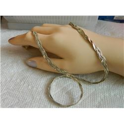 """CHAIN - 925 BRAIDED STERLING SILVER CHAIN - 7.9gm - 16 ½"""" LONG - needs clasp"""