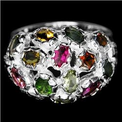 NATURAL AAA MULTI COLOR TOURMALINE RING